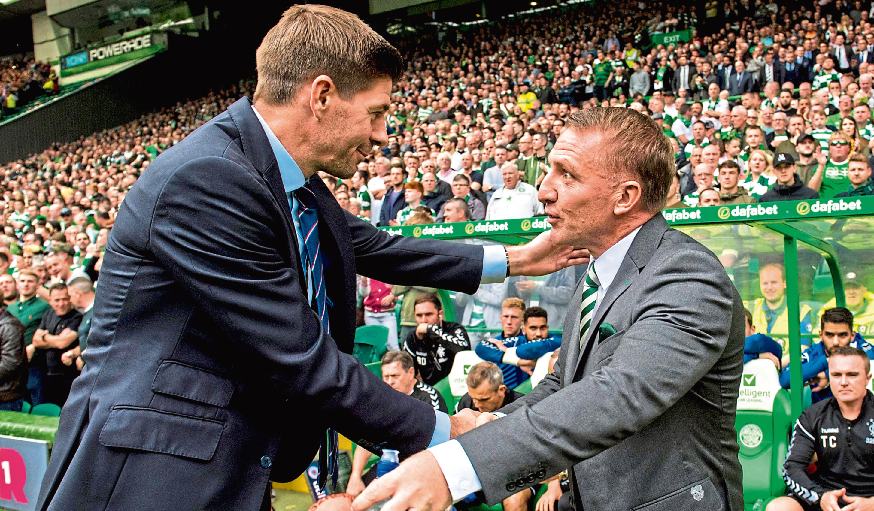 Celtic manager Brendan Rodgers shakes hands with Rangers manager Steven Gerrard (SNS Group)