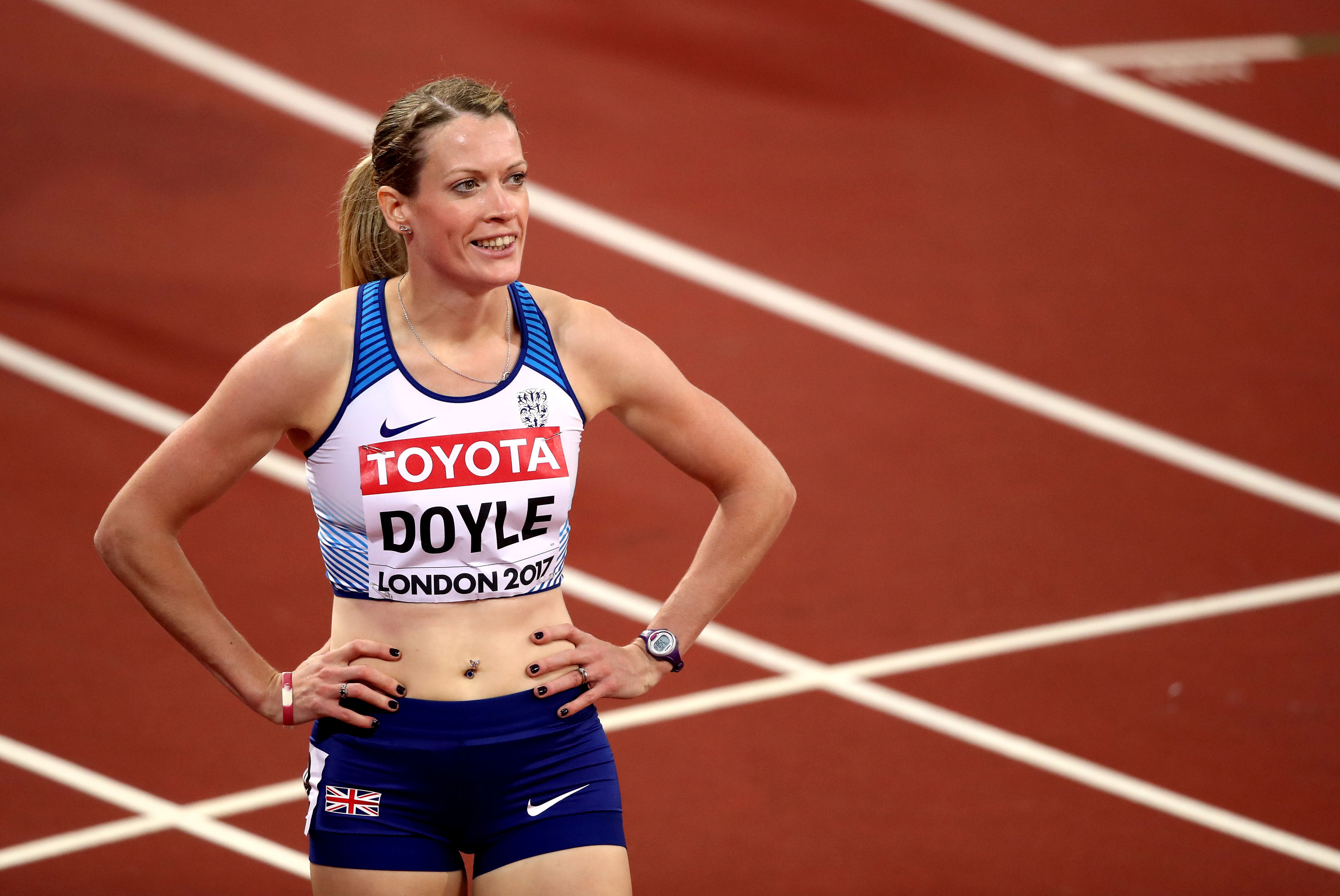 Great Britain's Eilidh Doyle after her Women's 400m Hurdles heat during day four of the 2017 IAAF World Championships at the London Stadium. PRESS ASSOCIATION Photo. Picture date: Monday August 7, 2017. See PA story ATHLETICS World. Photo credit should read: John Walton/PA Wire. RESTRICTIONS: Editorial use only. No transmission of sound or moving images and no video simulation