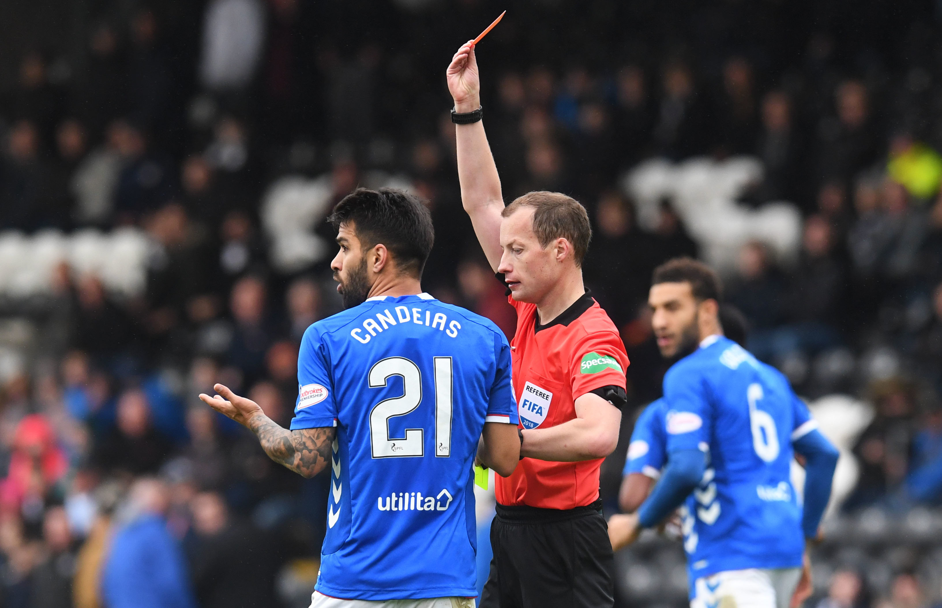 Rangers were unhappy with a second yellow card handed out to Daniel Candeias in their win over St Mirren (SNS Group / Craig Foy)