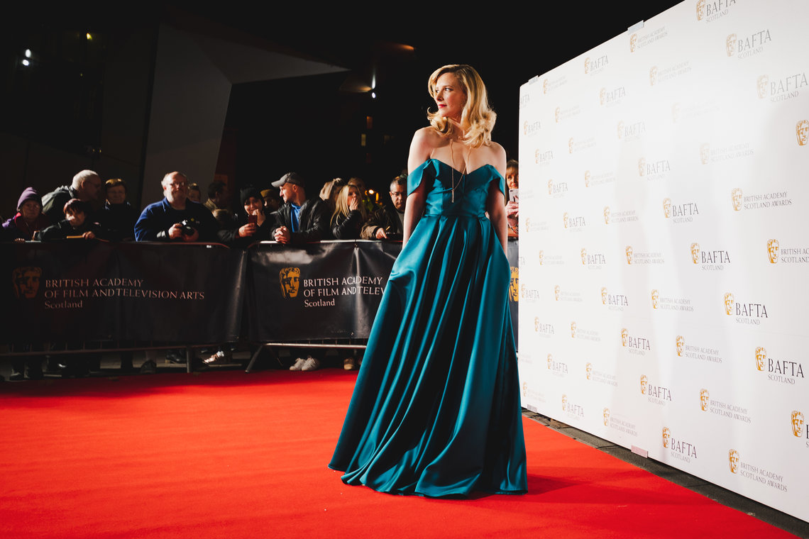 Shauna MacDonald on the red carpet at Radisson Blue in Glasgow (BAFTA/Carlo Paloni)