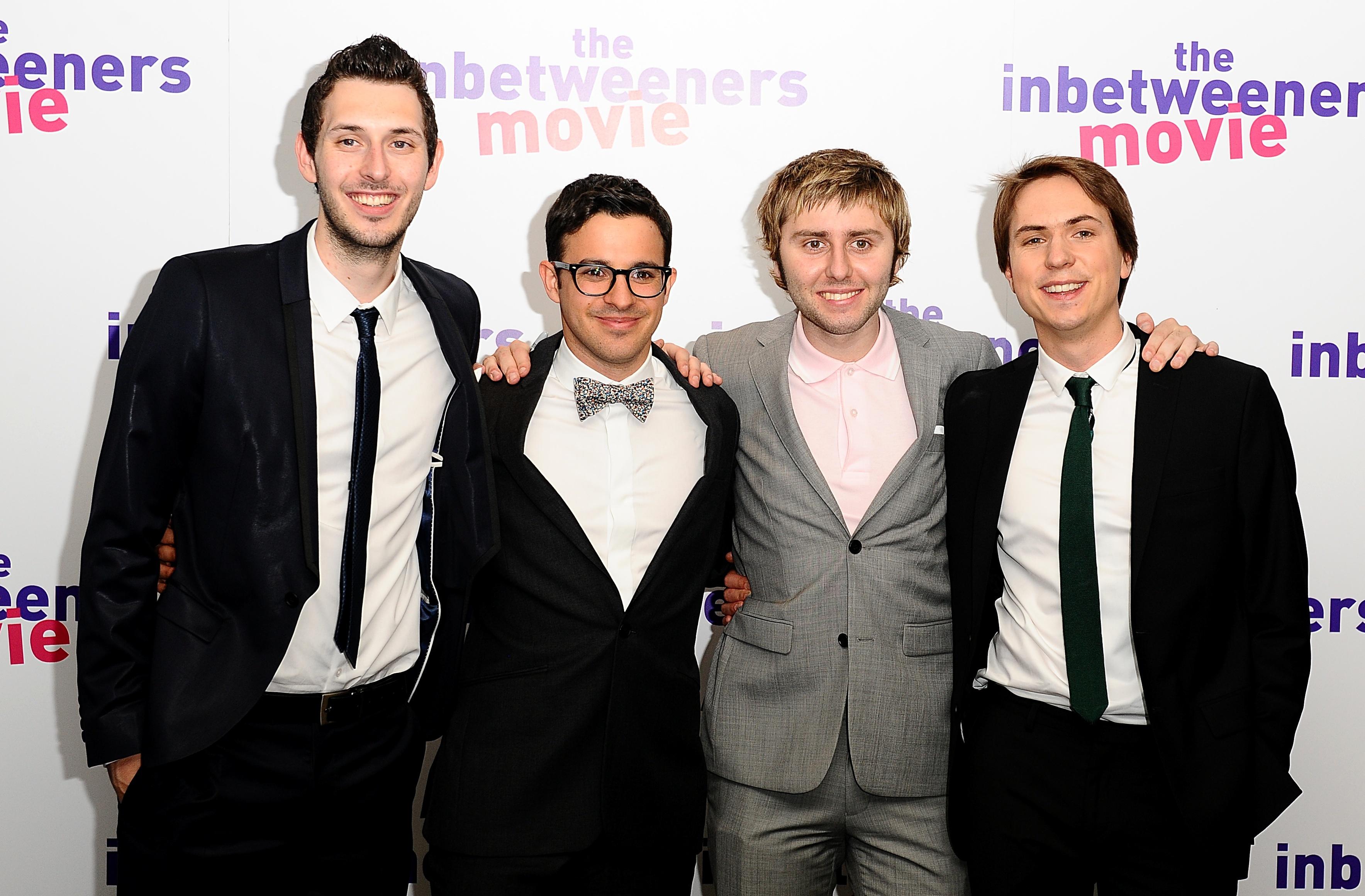 The cast of The Inbetweeners (l-r) Blake Harrison, Simon Bird, James Buckley and Joe Thomas  (Ian West/PA Wire)