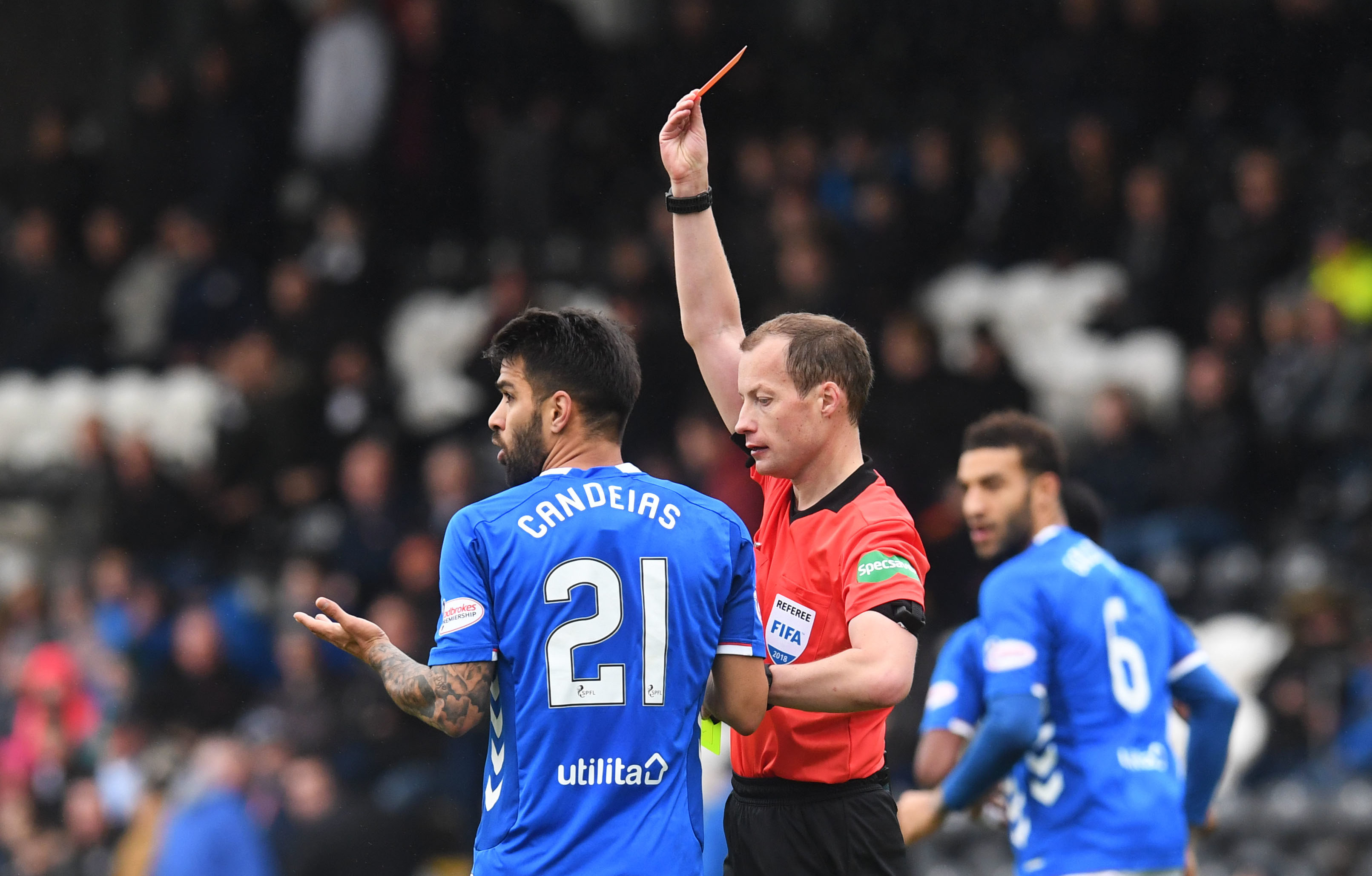 Willie Collum shows Daniel Candeias the red card (SNS Group)