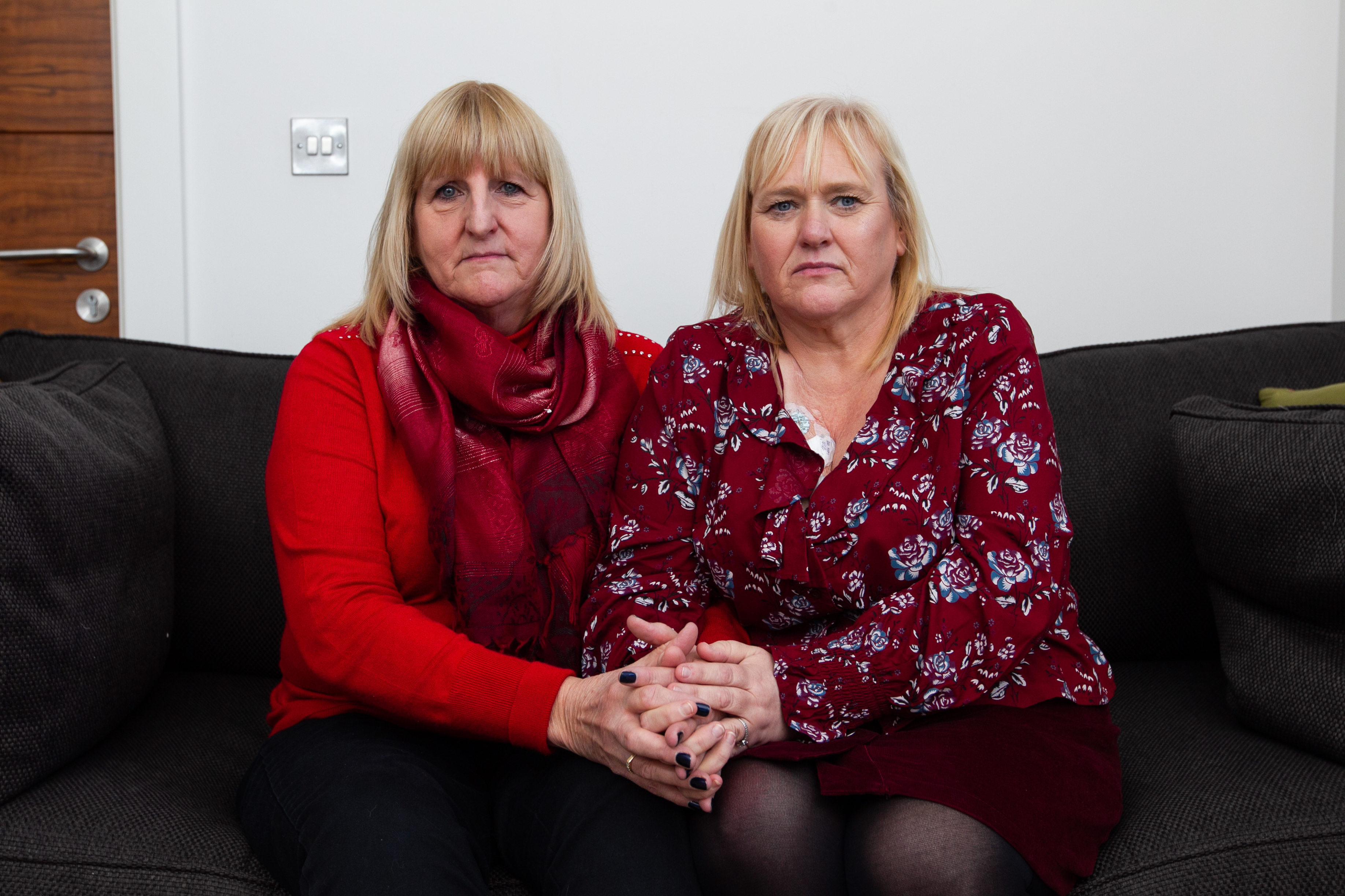 Judith Tyreman and Pauline Hunt meeting for the first time. Judith is the widow of Tom Tyreman. Tom and Pauline both recieved organ transplants which gave them cancer, which Tom died from. (Andrew Cawley)