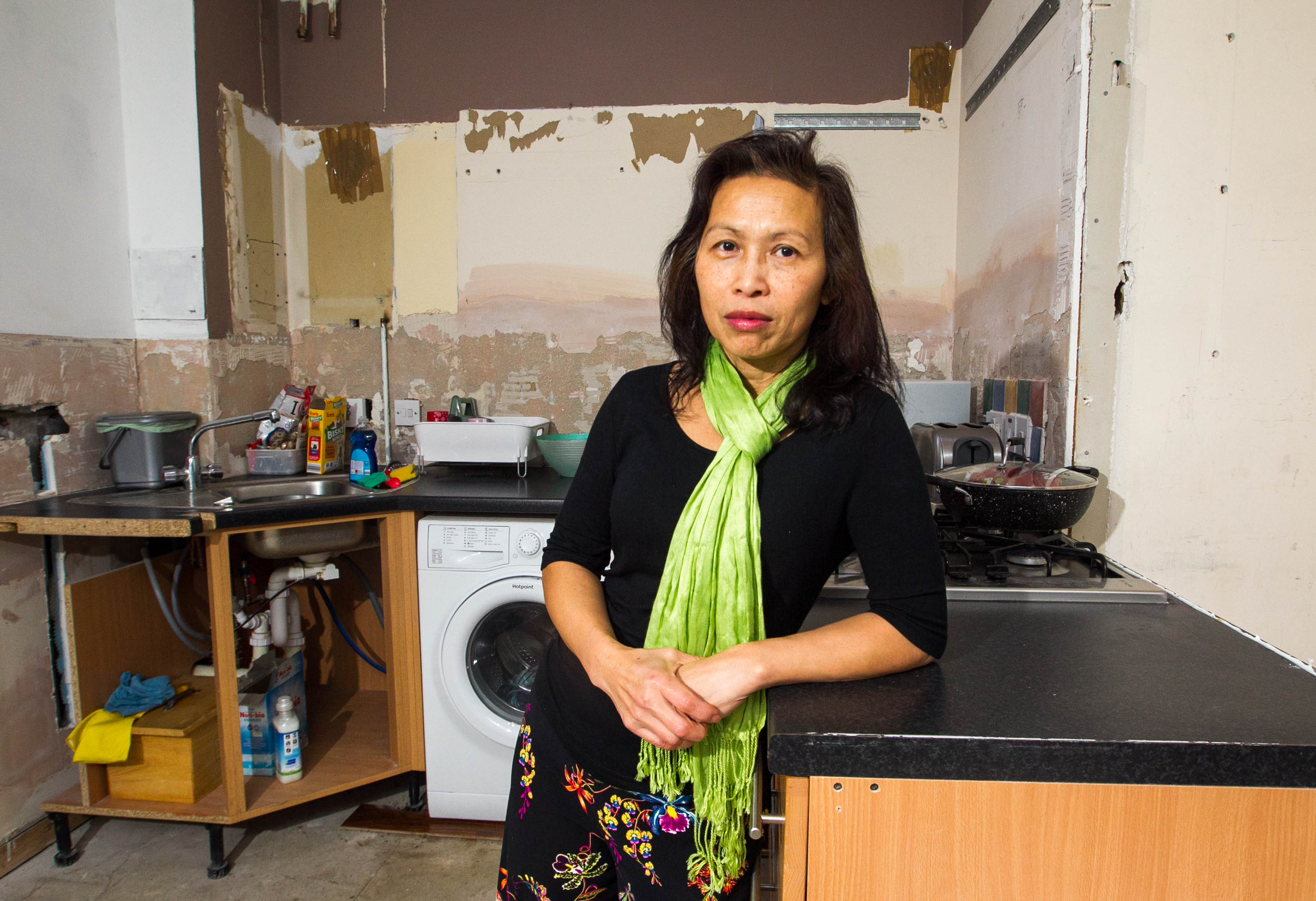 Sriwong Taylor has had her kitchen cancelled after it was half built. (Chris Austin)