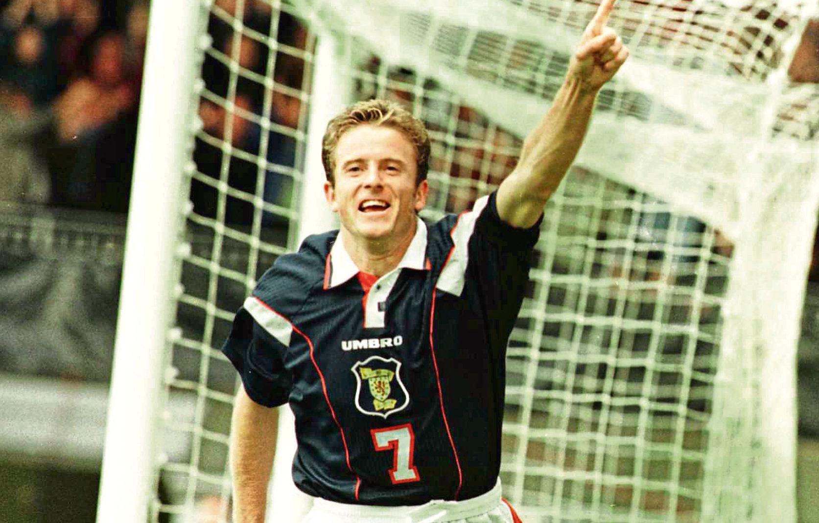 Kevin Gallacher celebrates a goal for Scotland (SNS Group)