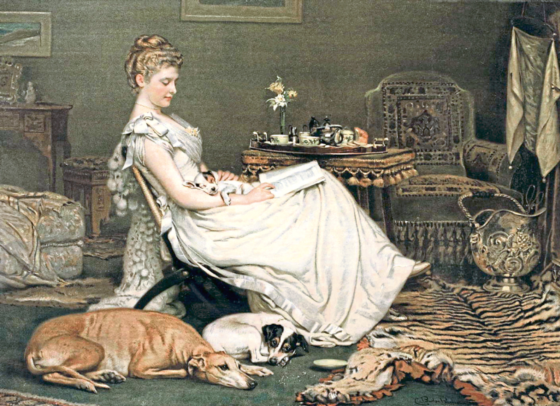 Comfort by Charles Burton Barber, a Victorian-era animal painter.