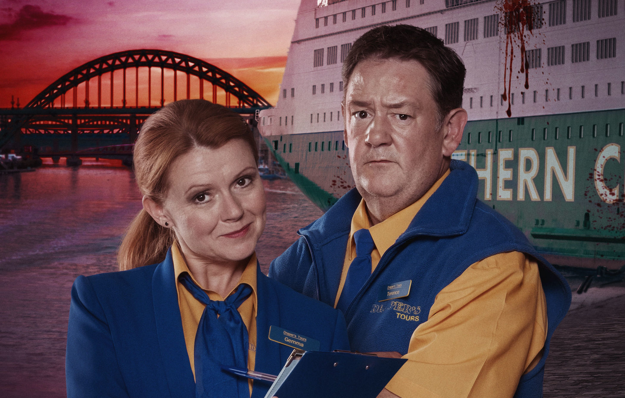 Sian and Johnny in Death On The Tyne (UKTV)