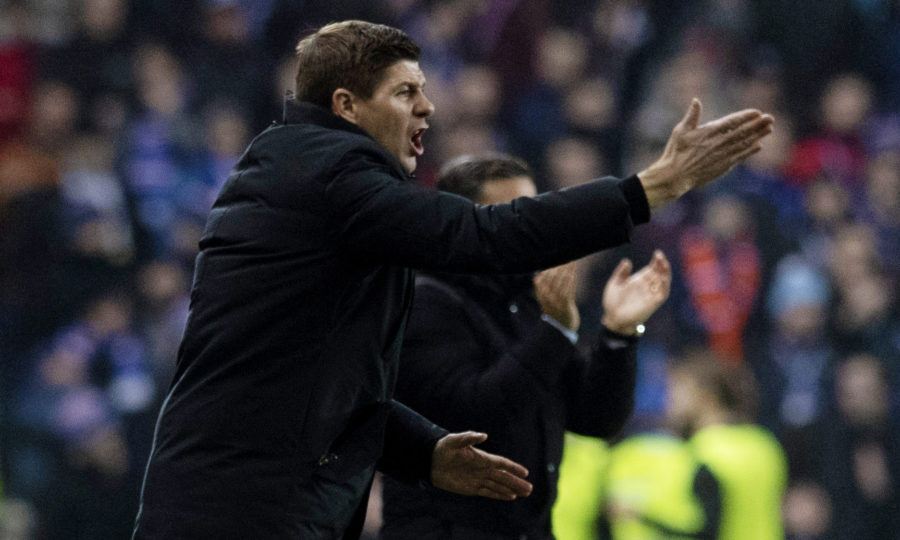 Rangers manager Steven Gerrard shouts instructions to his players
