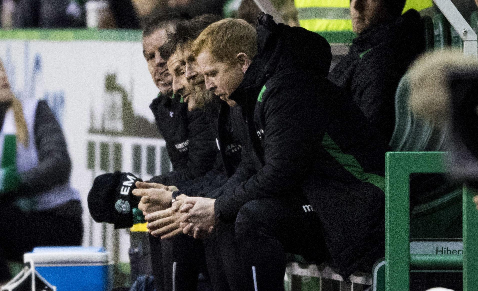 Hibernian manager Neil Lennon on the touchline at yesterday's Edinburgh derby (SNS Group)
