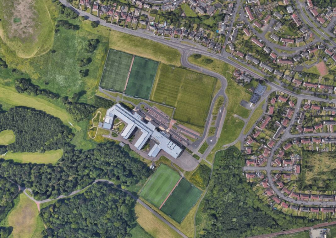 An aerial view of the school in Coatbridge