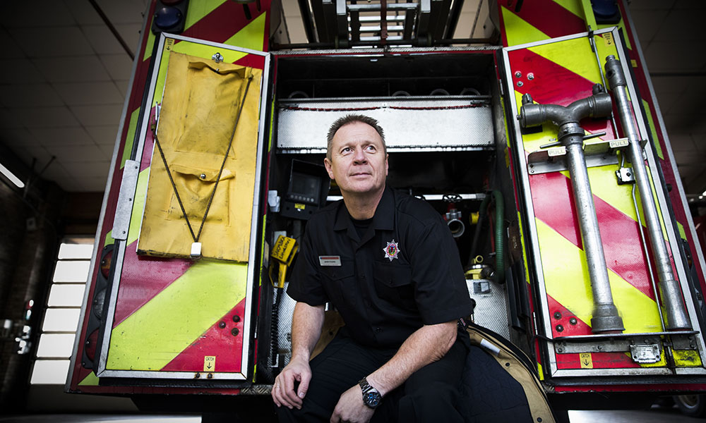 John Young on his last shift with SFRS. Photo by Jamie Williamson