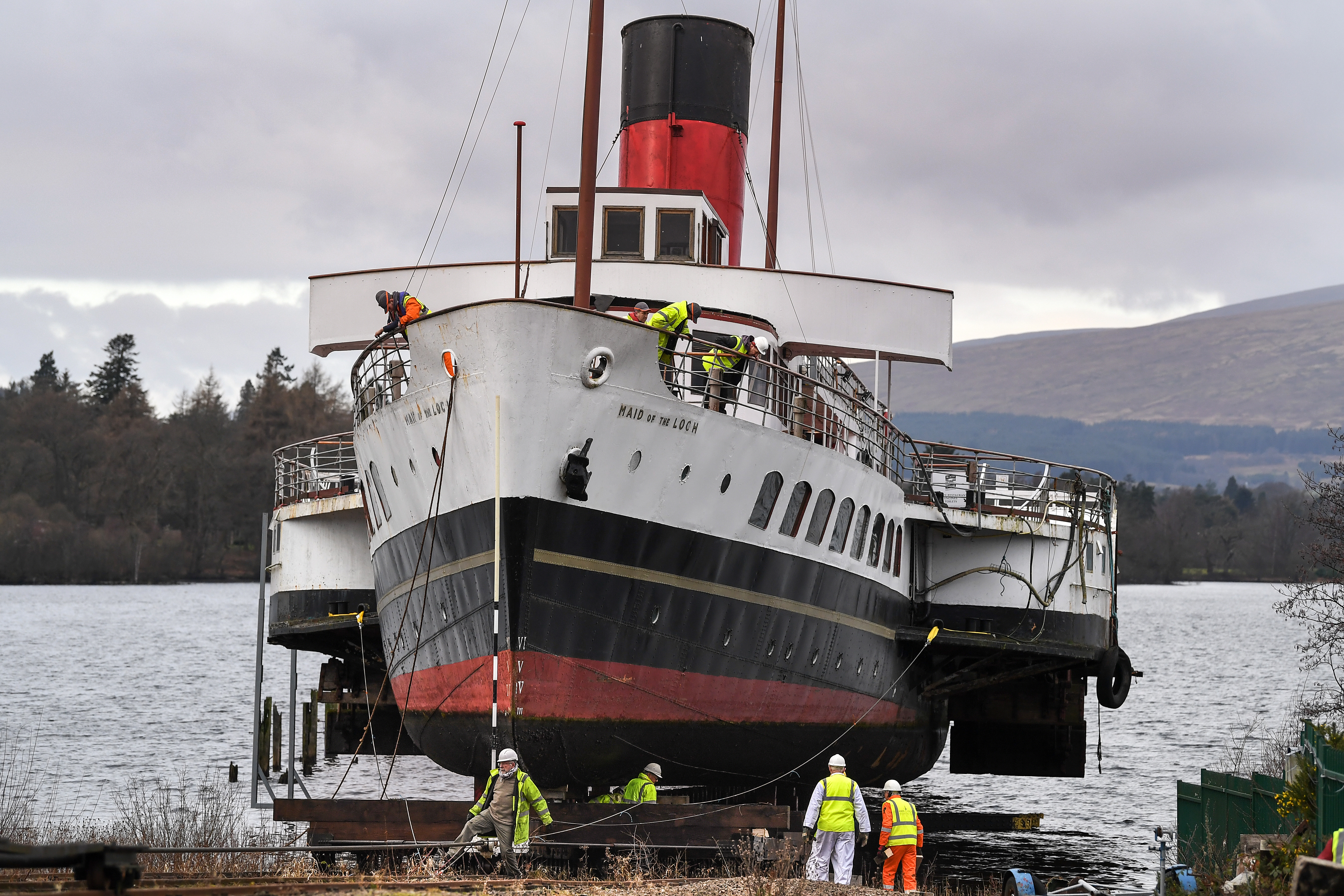 Maid of the Loch being pulled out of the water (Jeff J Mitchell/Getty Images)