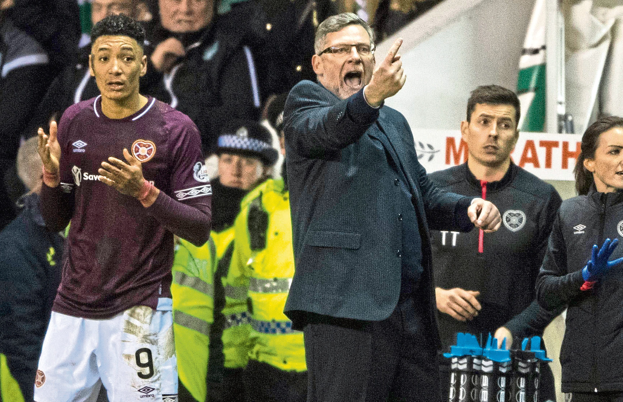 Hearts manager Craig Levein on the touchline