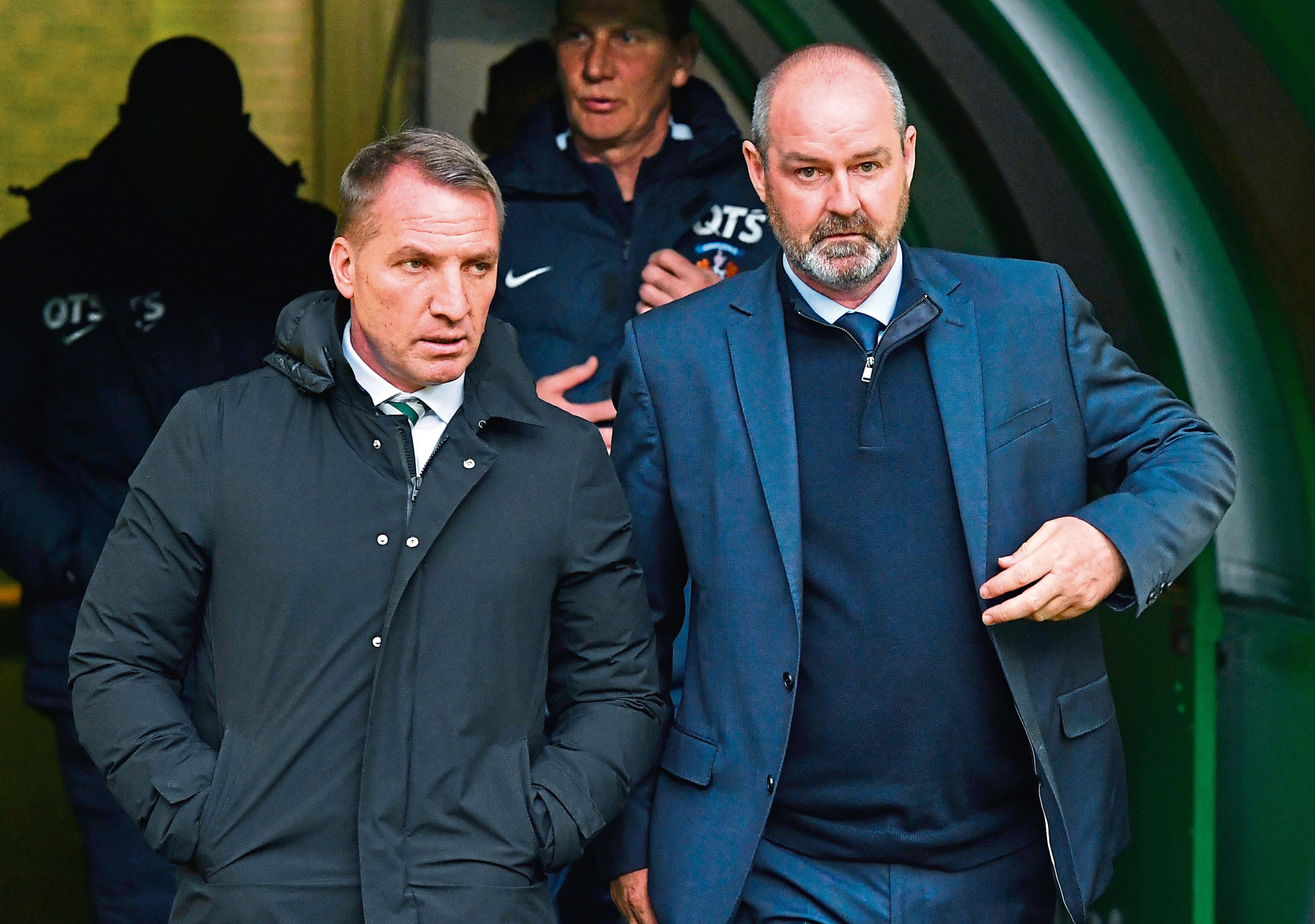Celtic manager Brendan Rodgers and Kilmarnock manager Steve Clarke emerge from the tunnel