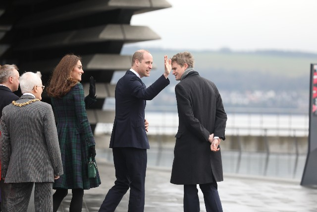 The duke and duchess of Cambridge arrive at V&A museum in Dundee.