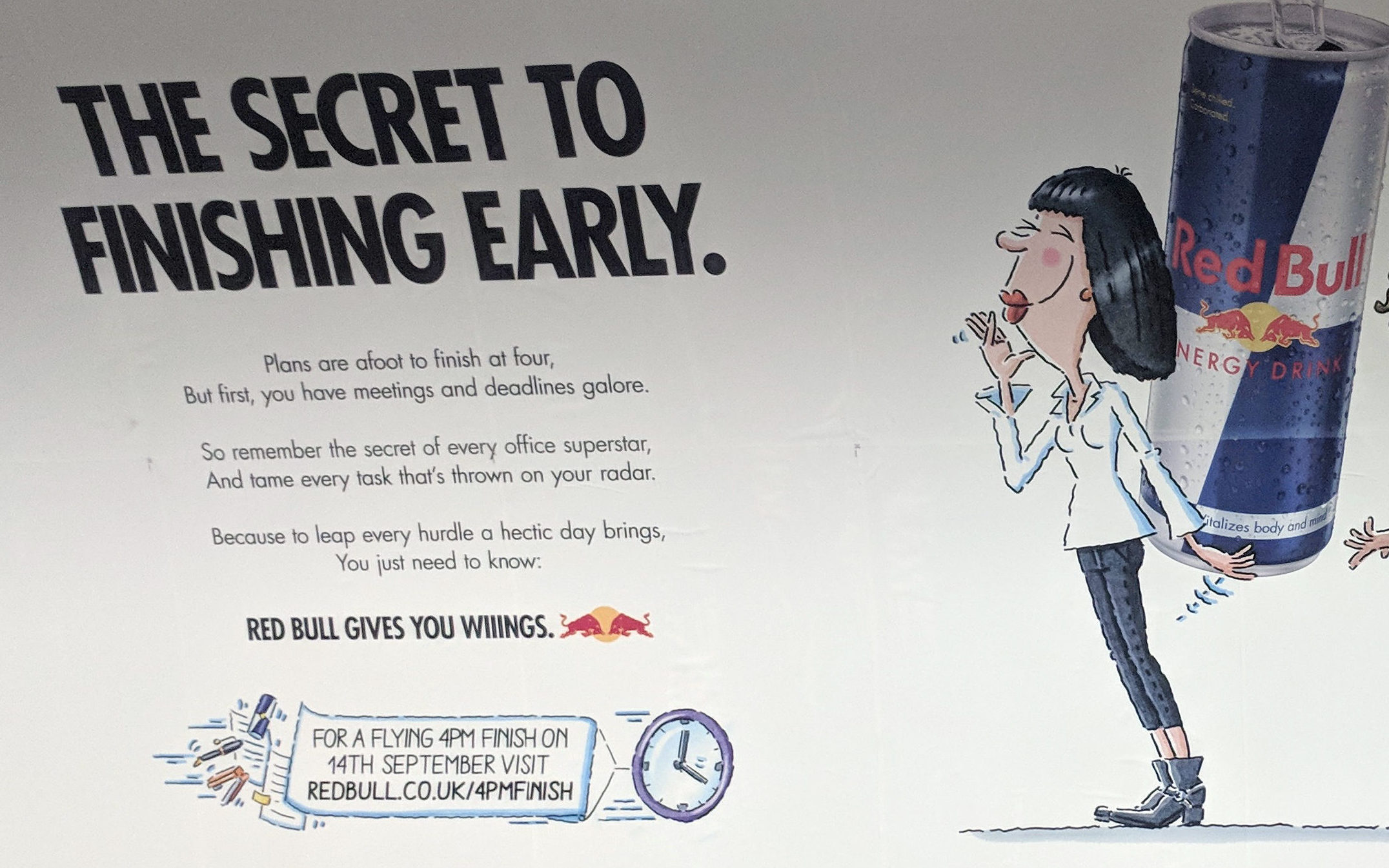 An ad for Red Bull suggesting that the energy drink could help workers to achieve a 4pm finish (ASA/PA Wire)