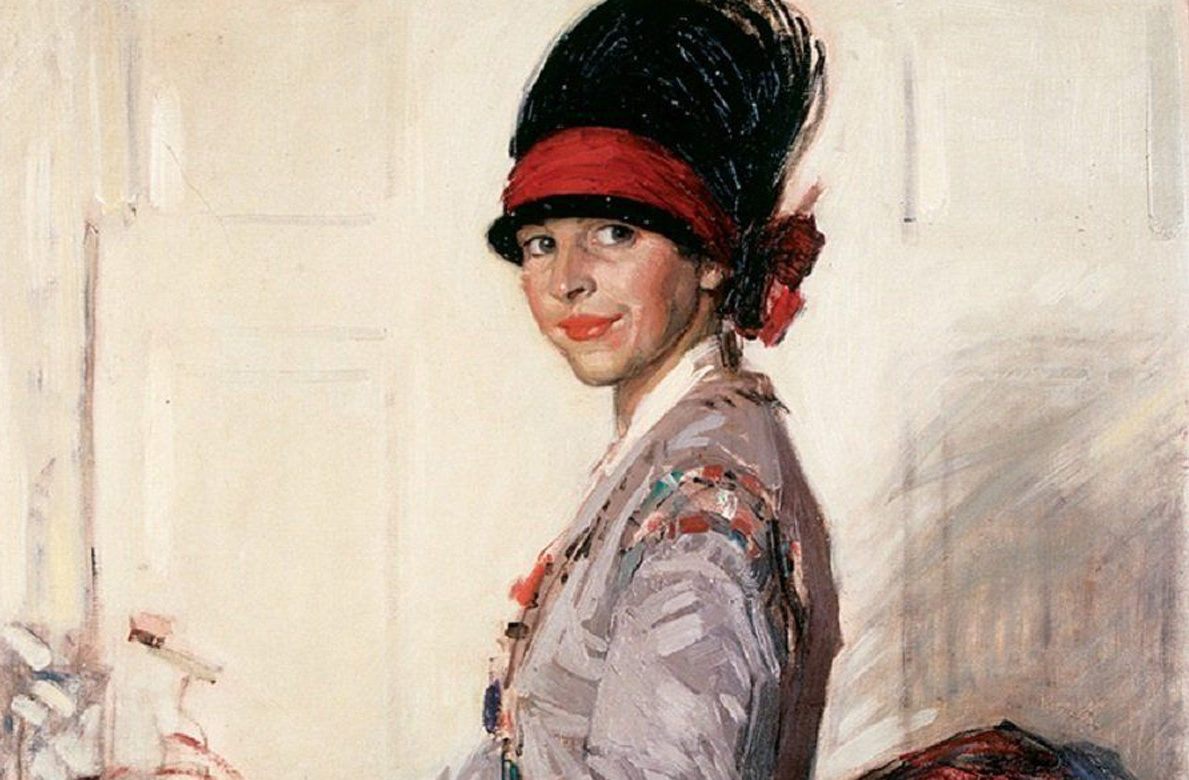 Artist Eleanor Allen Moore (Robertson), who was born in Ireland but lived in both ShangHai and Kilmarnock. She died in 1955. Pictured here in a Self Portrait.
