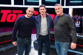 Chris Harris (left) with celebrity guest James Marsden (centre )and co-host Matt LeBlanc
