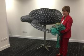 First Minister Nicola Sturgeon at the International Marine Conference in Glasgow today.
