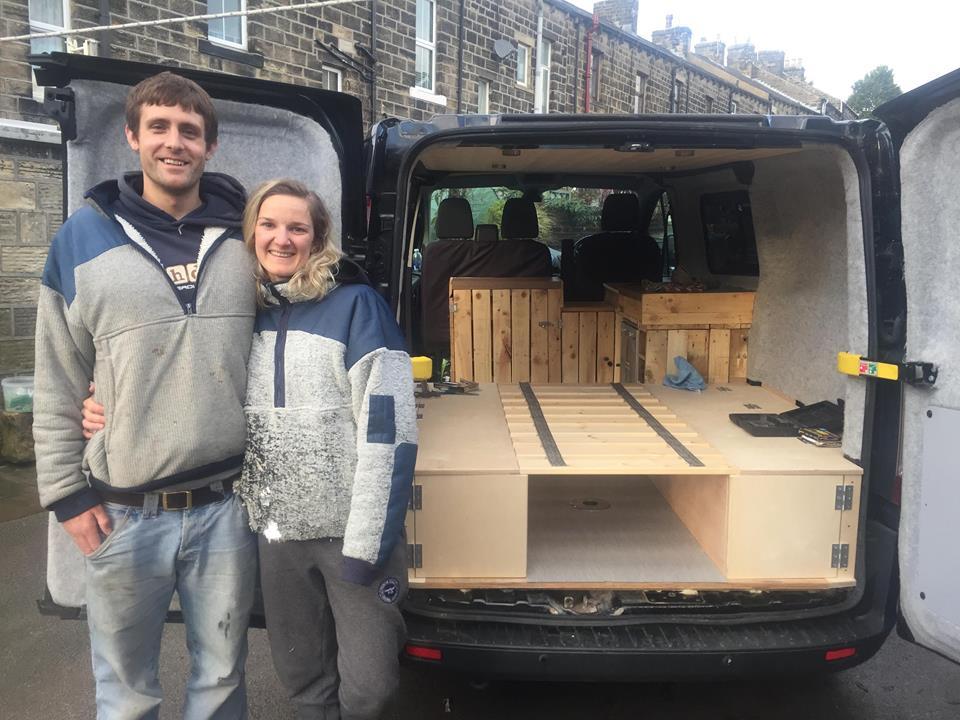 Eilidh Menzies who lives in Aberdeen in front of her DIY campervan.