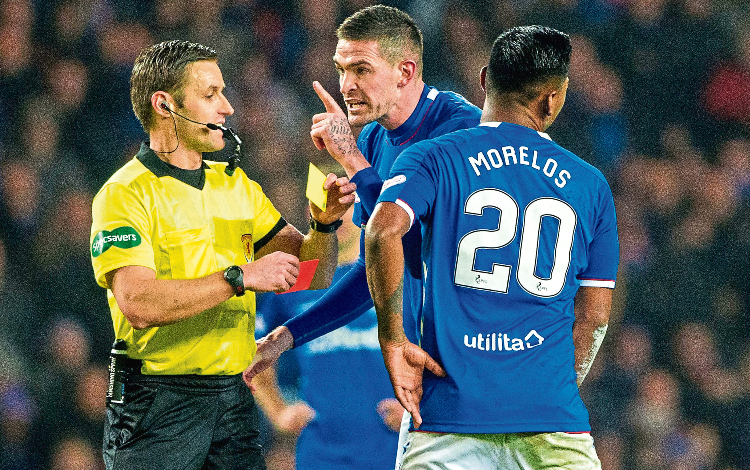 x 05/12/18 LADBROKES PREMIERSHIP RANGERS v ABERDEEN (0-1) IBROX - GLASGOW Rangers' Alfredo Morelos leaves the pitch after receiving a red card from referee Steven McLean as Kyle Lafferty protests