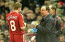 Steven Gerrard is given instructions by Rafael Benitez in 2010