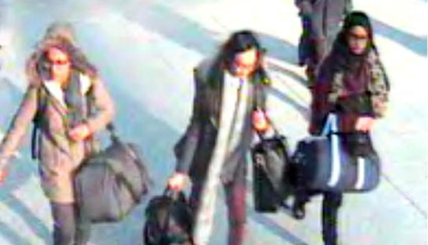 Amira Abase, Kadiza Sultana and Shamima Begum, above, flee UK in 2015