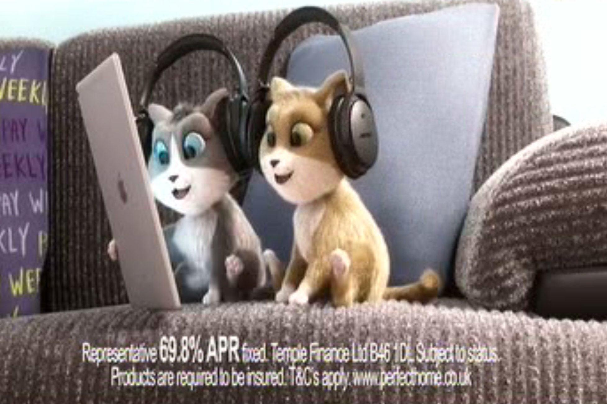 An advert for Perfect Home, a rent-to-own company, featuring the Fairground Attraction song Perfect over images of high-value items such as an iPad (ASA/PA Wire)