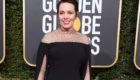Olivia Colman arrives at the 76th Annual Golden Globe Awards at The Beverly Hilton Hotel.