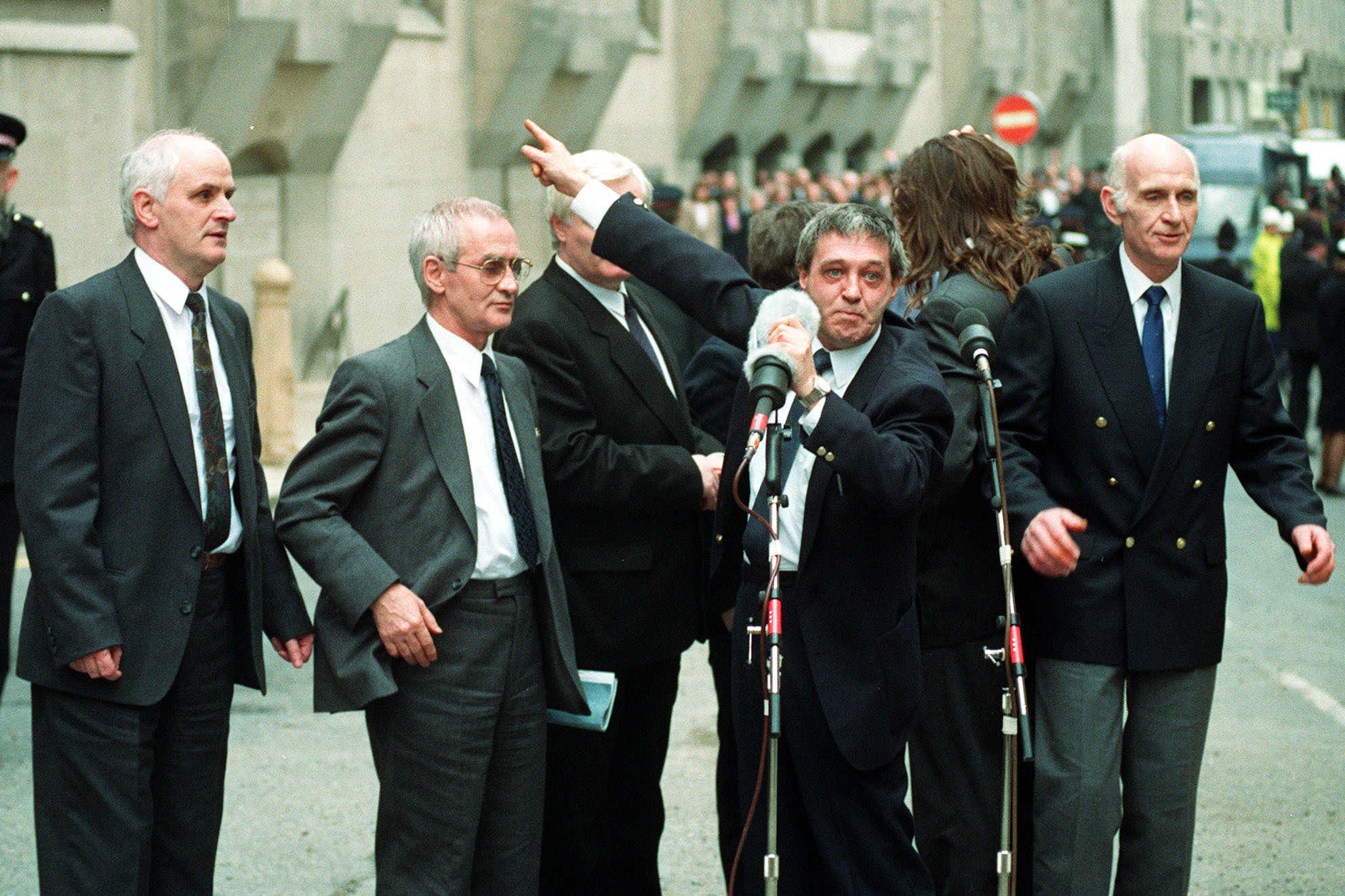 Paddy Hill, at microphone with rest of Birmingham Six at the Old Bailey, when released in 1991