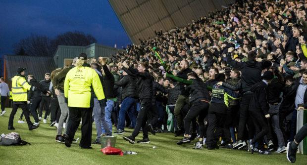Celtic fans celebrate Scott Browns late goal