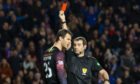 Kilmarnock goalkeeper Daniel Bachmann (left) is sent off by referee Alan Muir