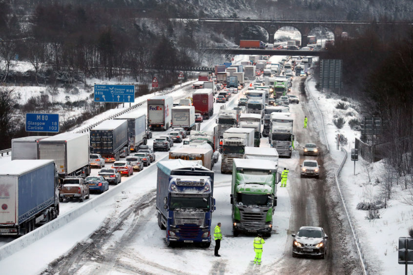 Lorries struggle on the M80 at Haggs