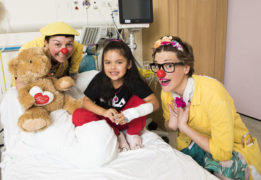 Clowndoctors Dr Wallop (Diane Thornton) & Dr Maybee (Suzie Ferguson) with patient Tamara Demel, six, at the Glasgow Royal Hospital for Children