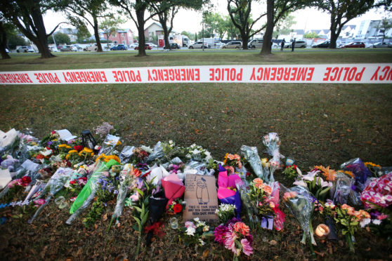 Flowers laid in Hagley Park opposite the Al Noor mosque in Christchurch, New Zealand