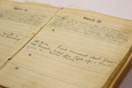 "Alex Lee's war time diary from when he was held captive in Nazi Camp Stalag Luft III and witnessed, ""The Great Escape."