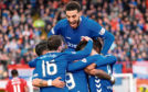 Connor Goldson leads the celebrations at Hamilton last weekend