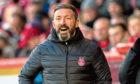 Aberdeen manager Derek McInnes on the touchline