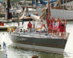 The crew who sailed around the world on the Maiden in 1989.