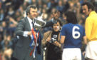 Rangers manager Jock Wallace (centre) with the Scottish League Trophy, 1975