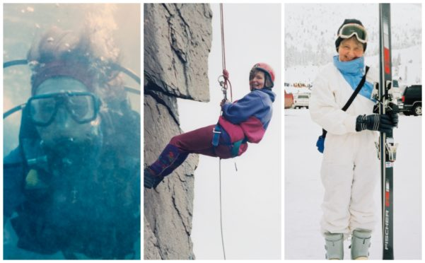 Left to right: Pearl's deep sea dive in Dubai in 1998 (in aid of the British Heart Foundation); 200ft rock climb and abseil in Ballater in 1996 (for transplant unit) and skiing on a family trip to Hemlock in Vancouver