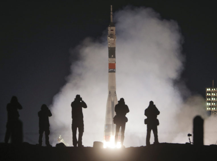 The Soyuz-FG rocket booster with Soyuz MS-12 space ship carrying a new crew to the International Space Station, ISS, blasts off at the Russian leased Baikonur cosmodrome, Kazakhstan