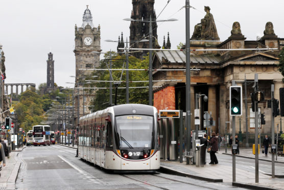 A tram on Edinburgh's Princes Street