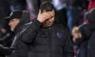 Partick Thistle manager Gary Caldwell (R) show's his frustration after being denied a penalty late on