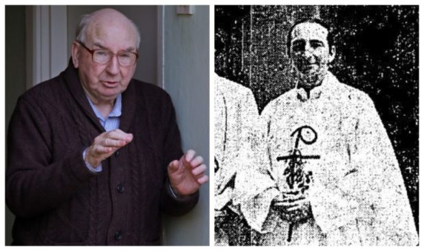 Father Joseph Dunne at home in Ireland, left, and when he was ordained