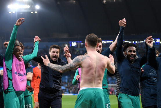 Celebration for Spurs in dramatic scenes at the end of the game