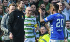 Alfredo Morelos heads for the tunnel after his red card last Sunday, much to Scott Brown's delight