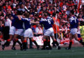 Games with Aberdeen used to cause Mark Hateley (left) and his Rangers team-mates off-field problems, such as having to avoid nail-studded golf balls thrown on to the pitch