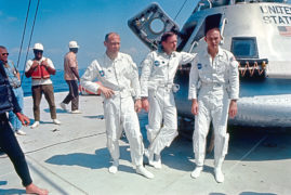 Apollo 11 astronauts Buzz Aldrin, Neil Armstrong and Michael Collins training in Houston ahead of their expedition to the moon