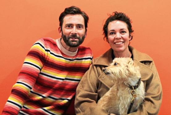 David Tennant with Olivia Colman (and her dog!)